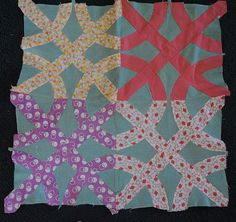 "4 1920's ""Mystery pattern"" quilt blocks, Crown of Thorns? Cross and Crown?"