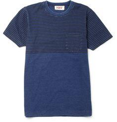 YMCHalf-Striped Slim-Fit Cotton T-shirt