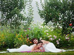Gorgeous same-sex wedding in the garden. Jade Turgel Photography.