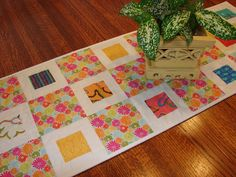 Modern Quilted Table Runner in Colorful Spring by susiquilts, $35.00