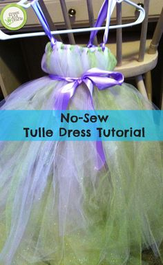 No-sew tulle dress tutorial for girls and dolls. http://www.greenkidcrafts.com/tulle-dress-tutorial/
