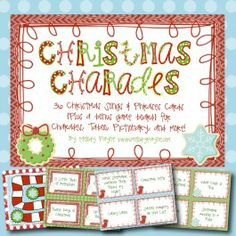 Christmas Charades and More! 36 Christmas Songs & Phrases Cards for Charades, Taboo, Pictionary, and More! #Christmas #games #music #carols #party