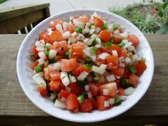 Pico de Gallo made with the Nicer Dicer. 2 small tomatoes, i small onion, two jalapenos, 1 T. prepared cilantro, a good squirt of lime or lemon juice.