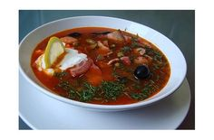 Solyanka - meat soup, Russia