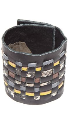 {Leather Cuff, Black} by Goldenwear - hand-made. love the weaving of different leathers!