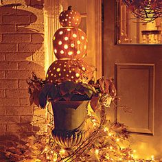 Decorate with lit pumpkins without the worry of fire.  Just use twinkle lights!