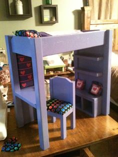 """DIY Loft bed for american girl or 18"""" doll--Ana White  I should be able to convert these directions to make a real Loft Bed."""