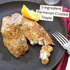 This 5-Ingredient Parmesan-Crusted Tilapia recipe is one of our most popular recipes! #glutenfree