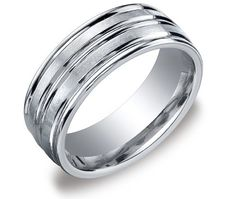 Men's 10k White Gold 8mm Comfort Fit Round Edge Plain Wedding Band with Satin Center Featuring High Polished Concave...