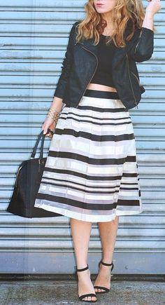 Love this striped midi skirt on #trendslove