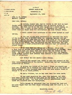 """A 1960 letter in which Alice Lee writes """"Scout is not Harper Lee; Scout is only the product of the very vivid imagination of the author."""""""