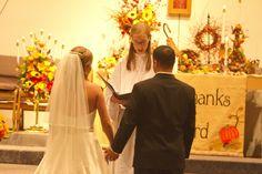 Church Altar decorations for a Fall Wedding.
