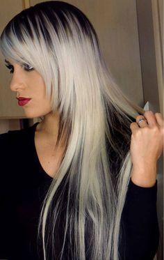 Interesting white black hair. Would be cute on short hair