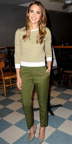 patterned sweater with cropped green Fendi pants,