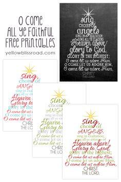 Free Christmas Chalkboard Printable {O Come All Ye Faithful} - Yellow Bliss Road