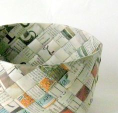Basket recycled newspaper plaited woven