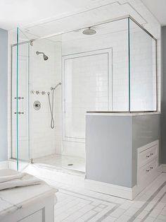 Shower, tile detail, ceiling