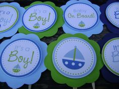 Sailboat Themed Cupcake Party Picks - You choose the colors via Etsy