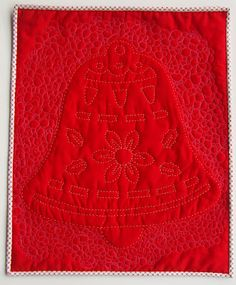 """Red Bell Wall hanging.  Hand and machine quilted. 17"""" x 21"""".. QUILTS BY MARISELA."""
