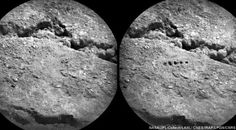 Before and after: five test holes made by the ChemCam laser on the Mars Curiosity Rover