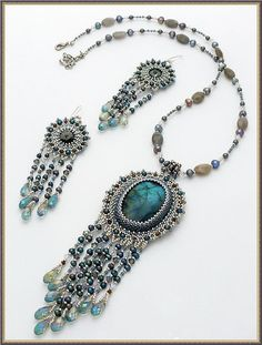 Beaded Earrings and necklace