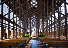 Thorncrown Chapel in Eureka Springs, Arkansas, designed by E. Fay Jones and constructed in 1980.