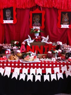Dessert table at an Orphan Annie Cast Party!  See more party ideas at CatchMyParty.com!