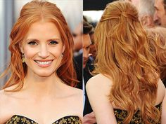 jessica chastain at the oscars, such great hair