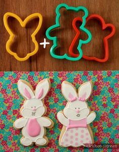 bunny face cutter + teddy bear or ghost cutters = boy and girl bunnies| Klickitat Street