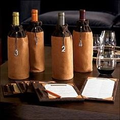 wines, wine tasting, tabl number, paper bags, tast parti, project idea, table numbers, wine bags