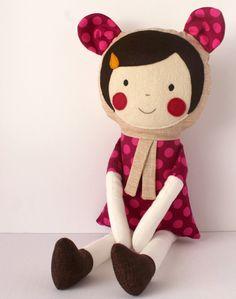 Little bear doll  Handmade fuschia rag doll for little by blita, $44.00