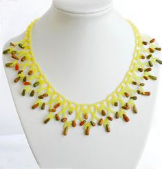 Free pattern for beaded necklace Sunny Day
