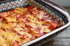 Utilize leftover chicken for this creamy chicken enchiladas recipe
