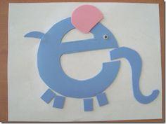 Letter E for elephant art activity