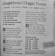 Gingerbread dog treat recipe from all you magazine