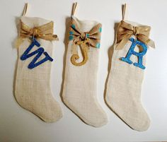 Burlap Christmas Stocking Glitter Letter White Burlap Polka Dot Holiday Decor Ho Ho Ho Fabric by Curly Willow Collections