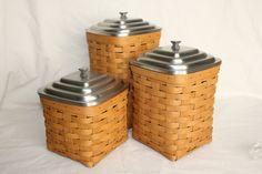 Longaberger 6 PC Square Canister Basket Set Small Medium Large w Metal Lids | eBay