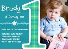 Baby Boy First Birthday   Baby Boy First Birthday Party Invitation by RitterDesignStudio