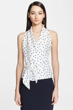 Polka Dot Silk & Jersey Blouse