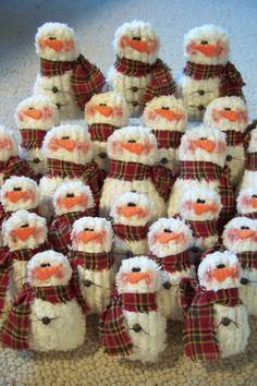Snowmen made from vintage chenille