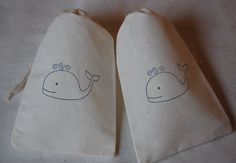10 Blue Whale Muslin Drawstring Favor Gift Bags via JennifersCookies