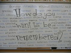 bullying lessons, middle school, school lessons, white boards, classroom management