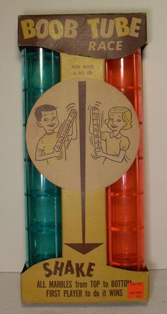 BOOB TUBE Vintage Plastic 1960s Game...a race to get your marble to the bottom first!