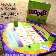 Moods: Social Language Game. Its ok to be MOODY! Pull a sentence card and say it in the correct MOOD. Race around the board game. Check out the details for adapting it to social groups. From The Speech Room News.