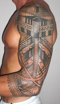 So clean! Polynesian Tattoos For Men | Sleeve Tattoo with Samoan Maori Tattooing Style for Man by Thierry ...