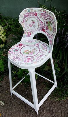 Cute Vintage Shabby Metal Stool Pink China Roses Mosaic Tile by hillspeak, via Flickr