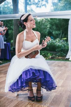 Bride playing the ukulele
