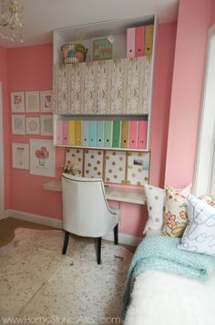Craft room makeover reveal. Sherwin Williams Hopeful pink in Craft Room.