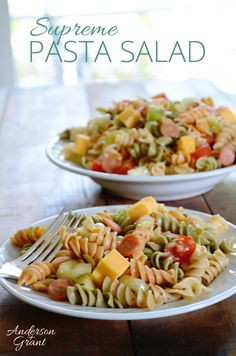 With a few simple ingredients, this pasta salad will be a hit at your next event....and it can be completely customized to include the ingredients you like.  Visit www.andersonandgrant.com for the complete recipe!