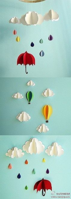 paper clouds, raindrops, umbrellas This would be fun for party decorations.